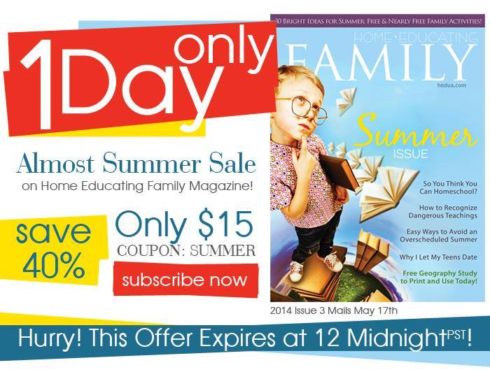 Home Educating Family Magazine SALE!