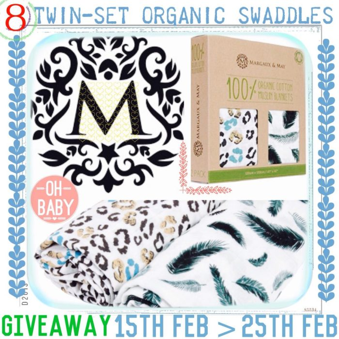 Giveaway: Margaux and May Organic Swaddle Blankets (8 winners!)