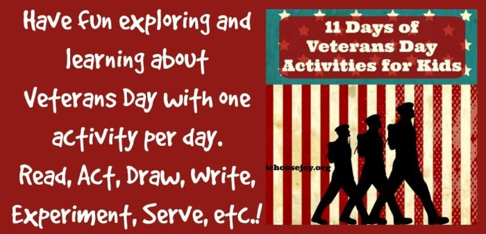 11 Days of Veterans Day Activities for Kids, help your kids learn all about Veterans Day with these great activities! #veteransday #activitiesforkids #homeschool
