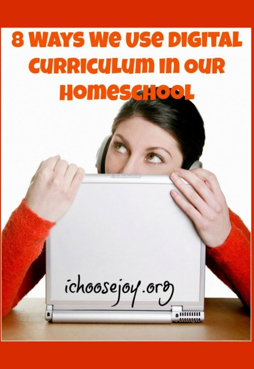 Homeschools and other educational institutions are moving more and more away from paper and book curriculum. Get some tips and ideas here from a veteran homeschool mom of 8. Learn 8 ways she uses digital curriculum in her homeschool. #homeschool #digitalcurriculum #onlinecourses #ichoosejoyblog