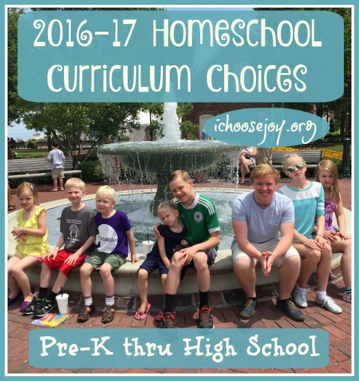 2016-2017 Homeschool Curriculum Choices for Preschool Thru
