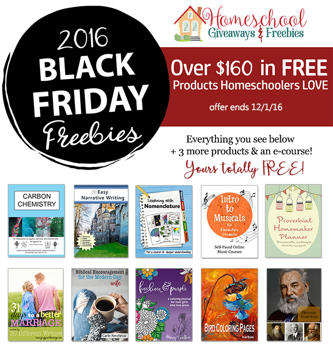 Homeschool Giveaways Black Friday Freebies