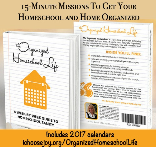 The Organized Homeschool Life will help you get your homeschool and home organized in 15-minute tasks.