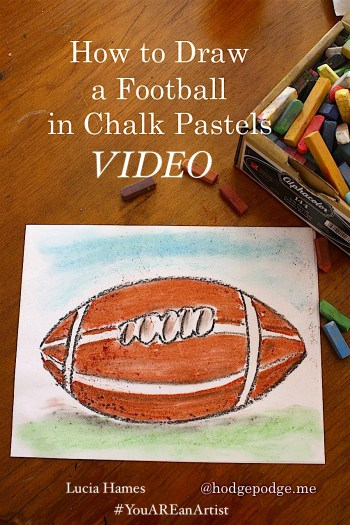 How to draw a football with chalk pastels, free video art lesson!