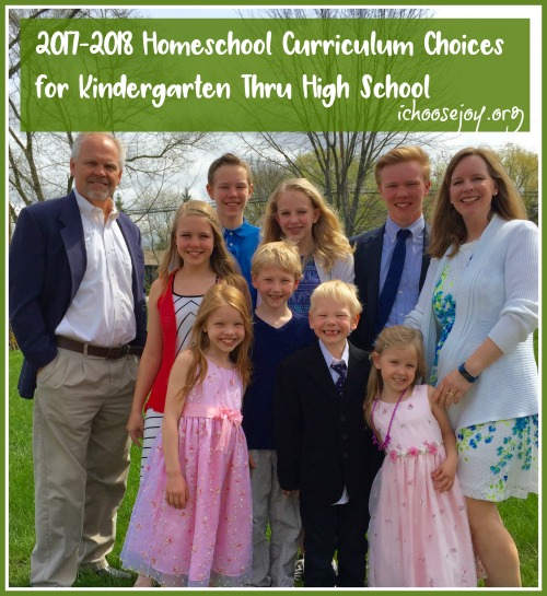 2017-2018 Homeschool Curriculum Choices for Kindergarten Thru High School