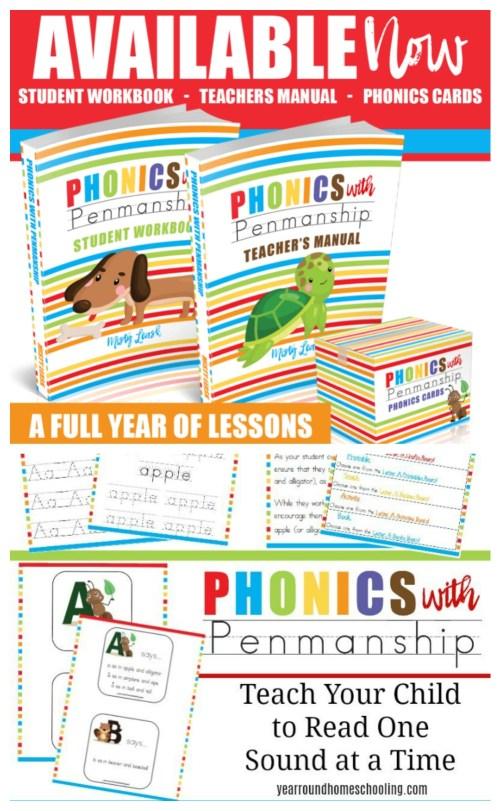 Phonics With Penmanship, a full year of lessons in phonics and handwriting for preschool/ kindergarten. #homeschool #homeschoolcurriculum #phonics #learntoread #ichoosejoyblog