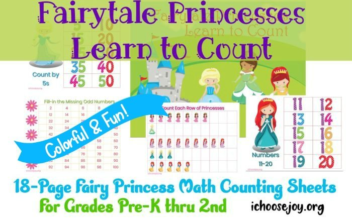 Fairytale Princess Math Counting Sheets little girls love! Math, skip counting, 100 chart, count the princesses. 18 pages. #ichoosejoyblog #princessmath #math #homeschoolmath #mathprintables