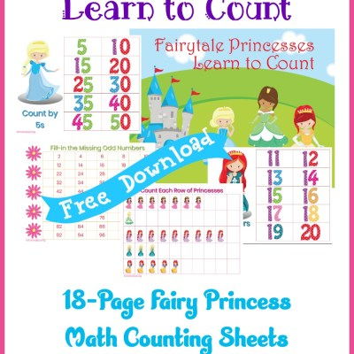 Fairy Princess Math Counting Sheets, a Free Printable Pack