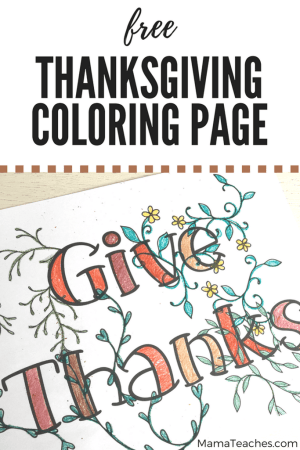 Give Thanks Thanksgiving coloring page, activities for kids to do on Thanksgiving #thanksgiving #activitiesforkids #coloringpage #printable