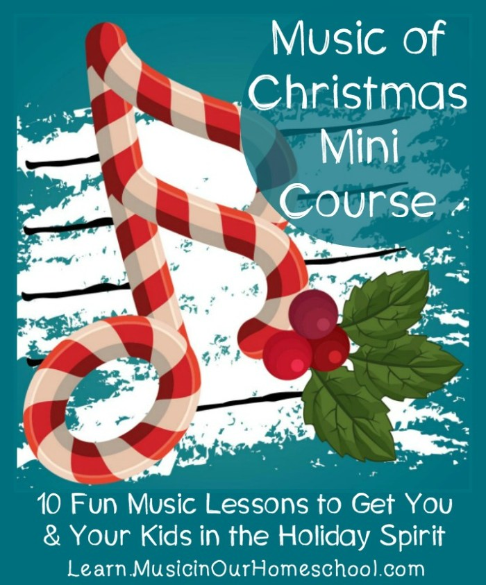 Music of Christmas Mini-Course part of the Ho-Ho Homeschool bundle for holiday-themed curriculum in your homeschool. #advent #christmas #christmascarols #homeschool #musiclesson