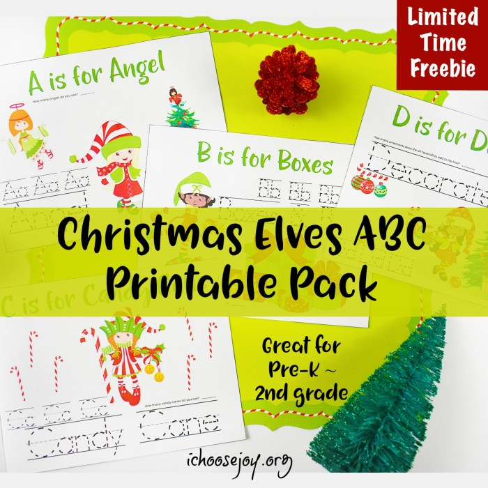 Christmas Elves ABC Printable Pack great for Pre-K thru 2nd Grade #printable #printablepack #preschool #elementary #homeschoolprintables