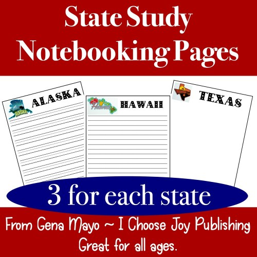 U.S. State Study Notebooking Pages , 150 pages, 3 for each state. #statestudy #geography #ichoosejoyblog #homeschool
