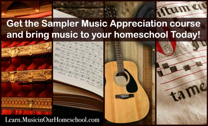 "Have some fun taking a mini-music appreciation course with these 10 lessons: Instruments of the Middle Ages, Handel, Patriotic Music, Blues and Jazz, Aaron Copland, Gilbert & Sullivan, Dvorak and Henry T. Burleigh, ""James and the Giant Peach"" the Musical, Music for Veteran's Day, and Music for Thanksgiving. You'll even find 6 bonus lessons from: State Songs of the 50 U.S. States, 10 Weeks of Shakespeare, Great Hymns of the Faith, 100 Delightful Classical Music Pieces mini-course, Music for Christmas, and Music Playlists for Homemaking. #musicinourhomeschool #homeschoolmusic #musiceducation #onlinemusiccourse"