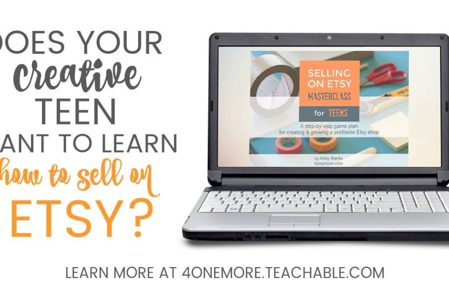Selling on Etsy Masterclass for Teens is an amazing and original online course to teach teens how to set up an Etsy shop and be successful selling on the platform. They can even use the course for high school credit! #homeschool #homeschoolhighschool #etsycourse #sellingonetsy #ichoosejoyblog