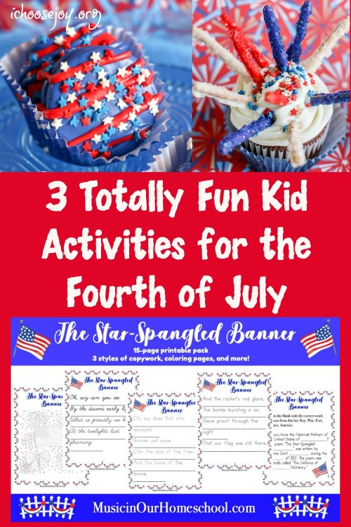 3 Totally Fun Kid Activities for the Fourth of July: Firework Cupcakes, Patriotic Deocorated Cookies, and Star-Spangled Banner printable pack. #fourthofjulyforkids #fourthofjulycookies #fourthofjulycupcakes #ichoosejoyblog