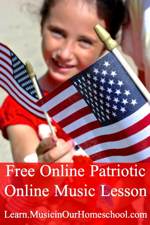 Get this free Patriotic Music Lesson from Music in Our Homeschool. This is part of Fun Kid Activities for the Fourth of July. #musicinourhomeschool #homeschoolmusic #patrioticmusic #musiclessonsforkids