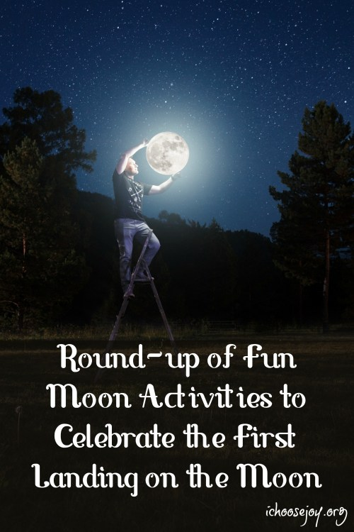 Round-up of Fun Moon Activities to Celebrate the First Landing on the Moon --find all kinds of different ideas here from books to movies to crafts to curricula! #moon #activitiesforkids #homeschool #astronomyforkids