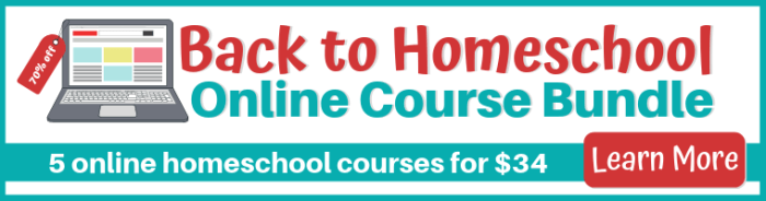Back to Homeschool Online Course Bundle on sale August 15-24, 2019. Get 5 amazing courses for your homeschool, elementary and middle school levels. 70% off!