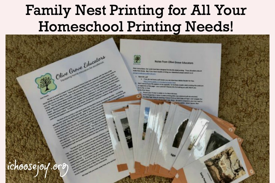 Family Nest Printing for All Your Homeschool Printing Needs featured