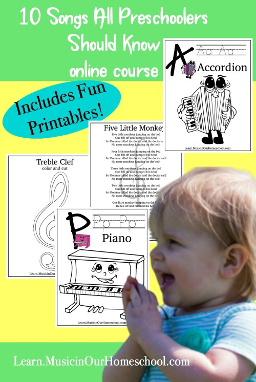 10 Songs All Preschoolers Should Know is the perfect online course to bring some music into your homeschool or preschool! #homeschoolmusic #preschoolmusic #musicinourhomeschool