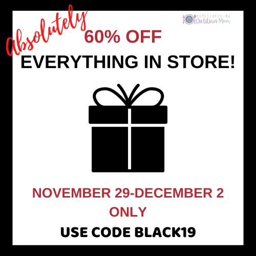 Homeschooling Dietician Black Friday sale
