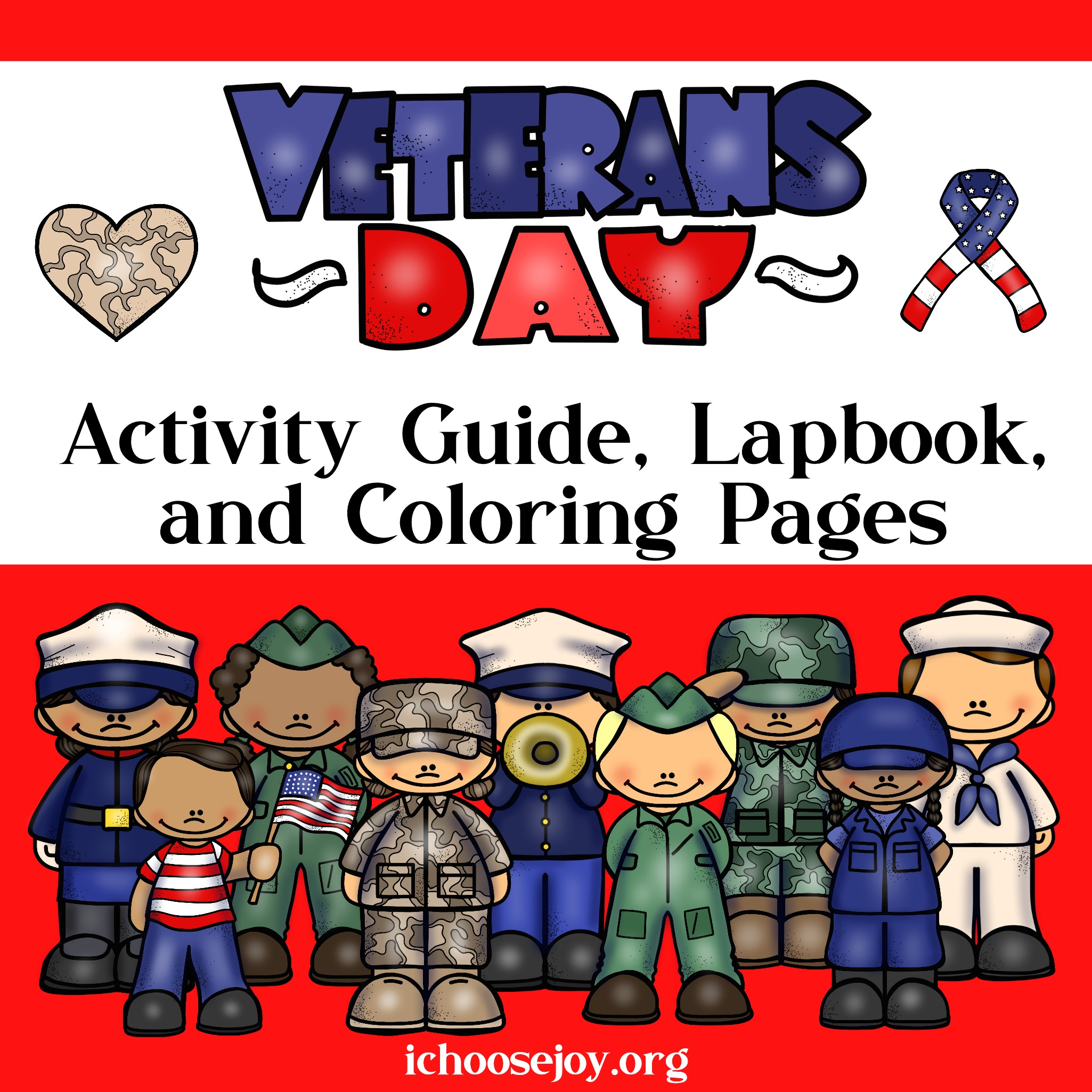 Veterans Day Activity Guide with lapbook and coloring pages