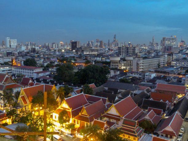 Thailand Bangkok Golden Mount Ausblick bei Nacht