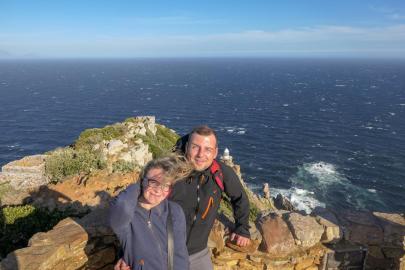 Südafrika South Africa Kap Halbinsel False Bay Cape Point Nationalpark Kapspitze Neuer Leuchtturm Ausblick windig Kap der Stürme