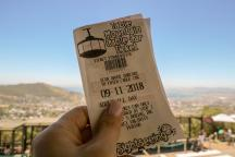 Südafrika Kapstadt Cape Town Tafelberg Table Mountain untere Seilbahnstation Ticket