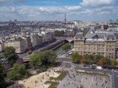 Frankreich Paris Notre Dame de Paris Kathedrale Glockenturm Turm Turmbesteigung Galerie Ausblick Seine Eiffelturm