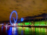 Großbrittanien England London Themse Riesenrad London Eye Nacht Nachtaufnahme