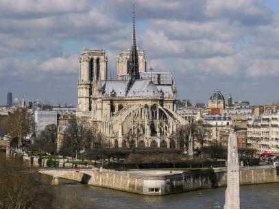 Frankreich Paris Notre Dame de Paris Kathedrale Institute du Monde Arabe Dachterrasse Ausblick Seine Ile-de-la-Cite