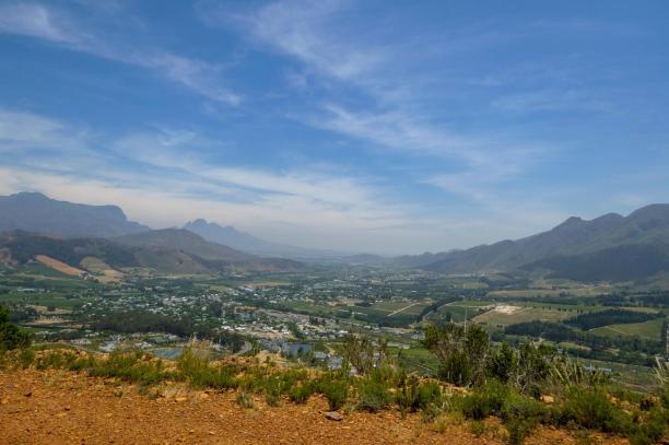 Südafrika South Africa Weinregion Winelands Franschhoek Pass Berge Aussicht Weinfelder