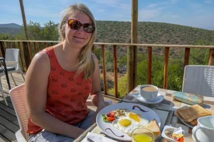 Südafrika South Africa Kleine Karoo Oudtshoorn Schoemanshoek Le Petit Karoo Ranch Frühstück Terrasse