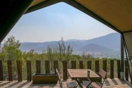 Südafrika South Africa Kleine Karoo Oudtshoorn Schoemanshoek Le Petit Karoo Ranch Safarizelt Terrasse Ausblick Berge