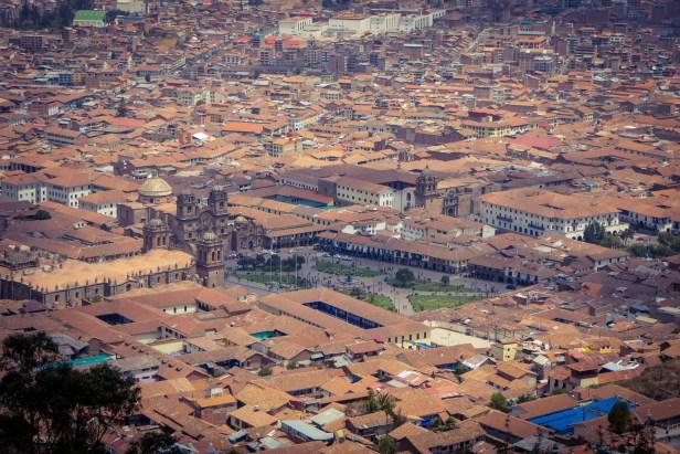 Südamerika Lateinamerika Peru Cusco Inka Plaza de Armas Aussicht