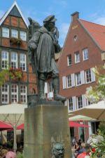 Deutschland Münster Westfalen Fachwerk Spiekerhof Kiepenkerl Denkmal