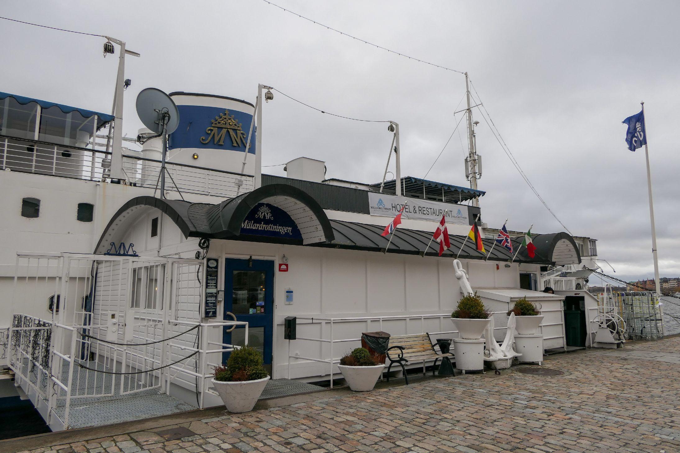 Stockholm Schweden Städtetrip Hotel Schiff Mälardrottningen Yacht Eingang
