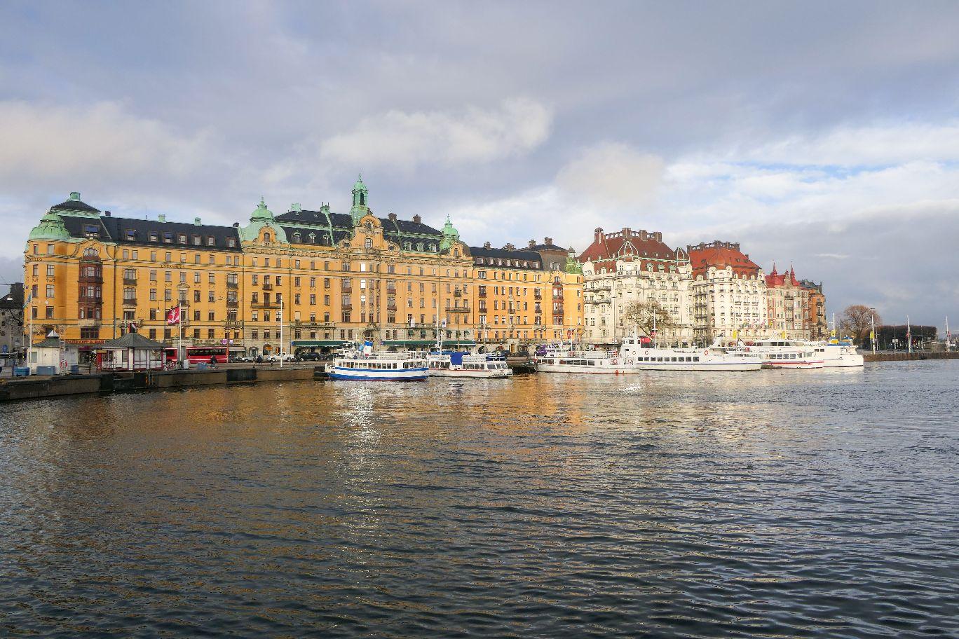 Stockhol Schweden Strömgatan Wasser Ausblick Grand Hotel