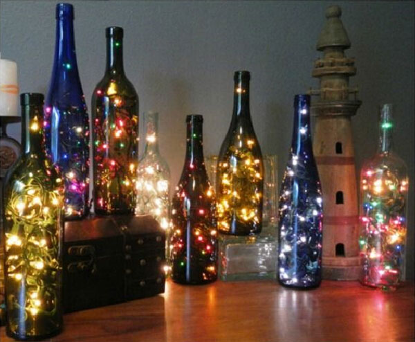DIY wine bottle Christmas lights