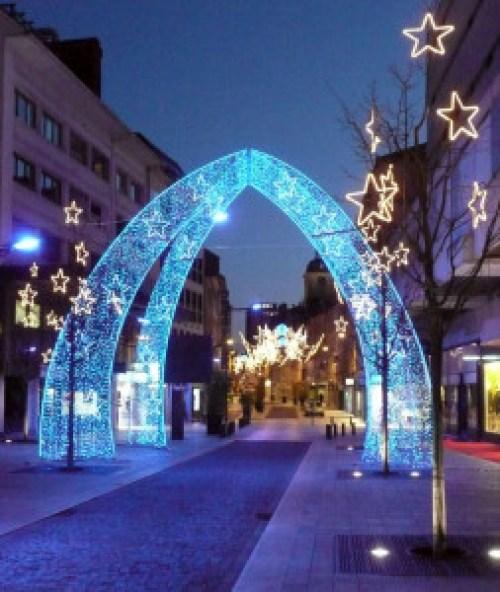 blue LED light arch