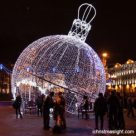 Outside LED lighted large Christmas balls