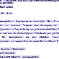 @BMWi_Bund @peteraltmaier – (Fast) keine Auskunft zum Sachverständigenrat @SVR_Wirtschaft — ichsagmal.com