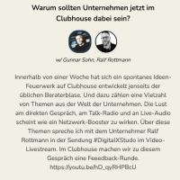 Warum sollten Unternehmen jetzt im #Clubhouse dabei sein? #DigitalXStudio mit dem Unternehmer Ralf Rottmann @ralf — ichsagmal.com