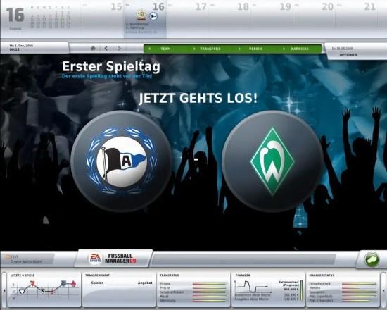 FM 09 - Animationsbildschirm beim Saisonstart