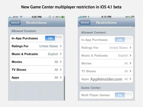 Game Center Einstellung - Screenshot