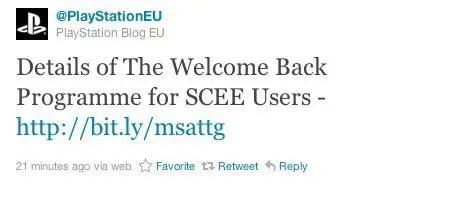 Tweet zum Welcome-Back-Paket nach PSN-Ausfall