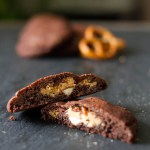 Chocolate Cookies with Peanut Butter and Pretzel Filling
