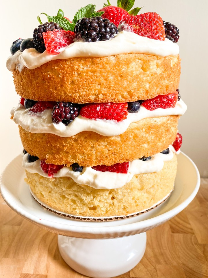Cream Cheese Chantilly Cake With Fresh Berries Icing On The Bake