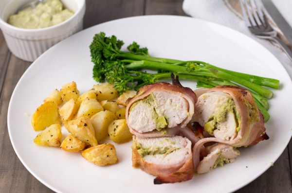 Bacon Wrapped Chicken Stuffed With Cheese, Avocado & Sour Cream